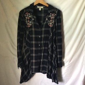 Vintage America Women L Embroidered Tunic Blouse